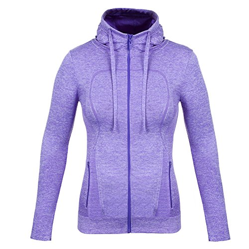 FITIBEST Women Full Zip Activewear Coat Yoga Slim Workout Sweatshirt Sports Jackets with Thumb Holes (L, Purple)