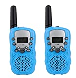 Camonity Two Pack 22 Channel Walkie Talkies for Kids Children Two Way Radio Long Range 2 Miles Open Field Handheld Children Toy for Family Game Blue