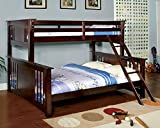 1PerfectChoice Spring Creek Mission Style Twin XL over Queen Bunk Bed Solid Wood in Dark Walnut