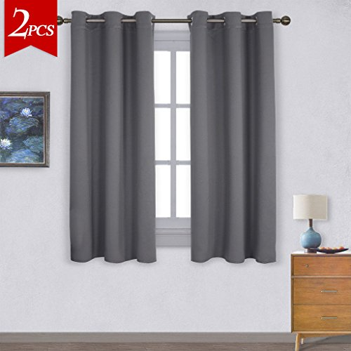 NICETOWN Thermal Insulated Grommet Blackout Curtains For Bedroom 2 Panels W42 X L63 InchGrey