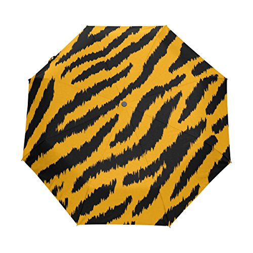 U LIFE Tiger Striped Auto Open Close Windproof Sun Rain Golf Umbrella Black Vinyl Compact Foldable Umbrellas for Travel Sports Women Men Kids Boys Girls Yellow (Tigers Nano Case)