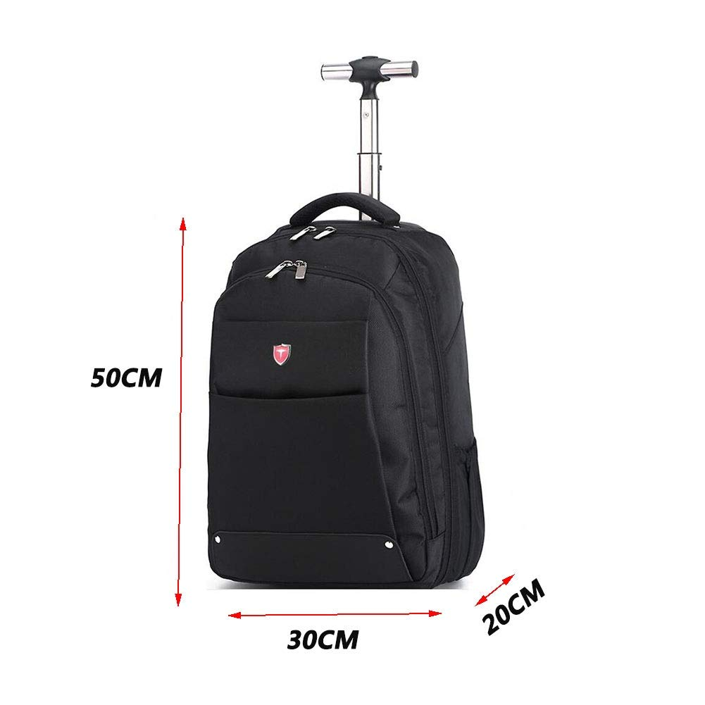 QY Backpack Travel Bag Outdoor Waterproof Backpacks High Capacity Pull Rod Shoulder Bags Detachable Multifunction Wheel Backpack QY Accessories Bags, Cases & Sleeves Color : Black, Size : 30X20X50CM