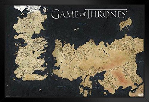 Pyramid America Game Thrones Westeros Essos Map Framed Poster 20X14 Inch