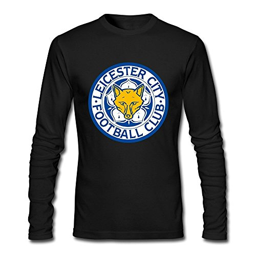 (Men Leicester City FC Logo Customized Long-Sleeve T-Shirt Black XXL By Rahk)