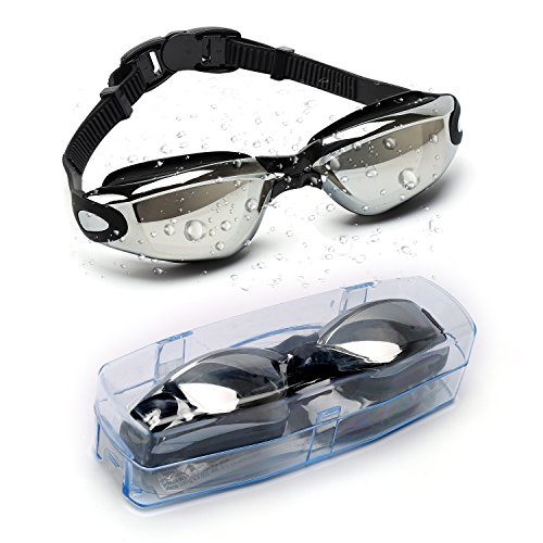 Cassiecy Swim Goggles Anti Fog UV Protection Waterproof Wide View Swimming Goggles For Men Women Youth Kids (Black)