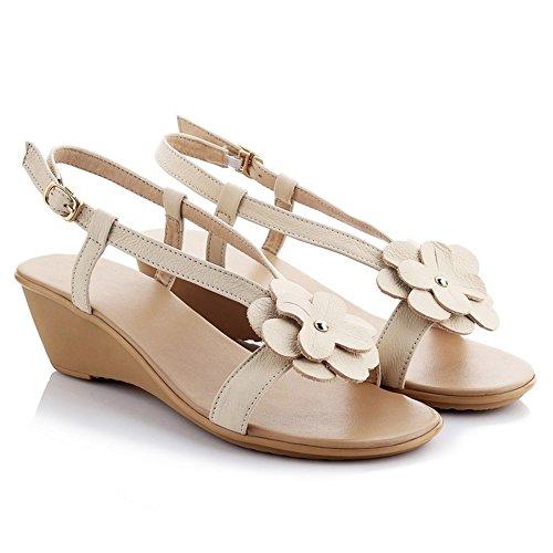 COOLCEPT Mujer Moda sin Cordones Sandalias Punta Abierta Tacon de Cuna Zapatos con Flor Blanco