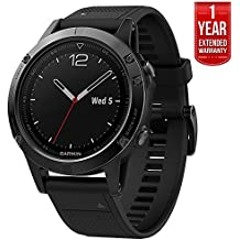 Garmin Fenix 5 Multisport 47mm GPS Watch Performer Bundle - Slate Gray with Black Band (010-01688-30) + 1 Year Extended Warranty
