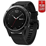 Garmin Fenix 5 Sapphire Multisport 47mm GPS Watch - Black with Black Band (010-01688-10) + 1 Year Extended Warranty