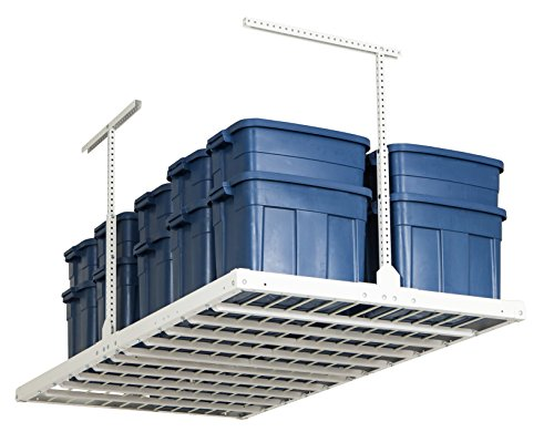 Monkey Bars Rack Ceiling Mounted Overhead Garage Storage System 750-Pound Capacity, 4' X 8', White