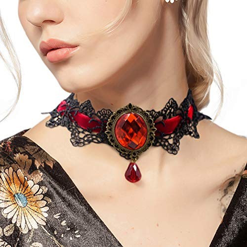 Eternity J. Retro Handmade Craft Lace Royal Court Vampire Choker Gothic Necklace Red Pendant Chain