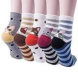YSense 5 Pairs Womens Cute Funny Socks Casual Cotton Crew Cat Dog Animal Socks