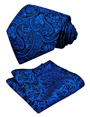 Alizeal Men Paisley Necktie Handkerchief Set, Royal Blue