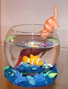 Decorative Betta Fish Bowl -Gold Fish Decor Blue #2152