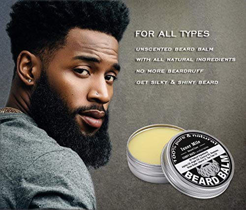 UPGRADED Beard Kit for Men Beard Growth Grooming & Trimming with Unscented Leave-in Conditioner Oil, Mustache & Beard Balm Butter Wax, Beard Brush, Beard Comb, Sharp Scissors, Best Perfect Gift