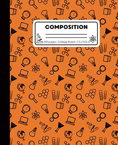 Composition: College Ruled Writing Notebook, Orange Science Pattern Marbled Blank Lined Book