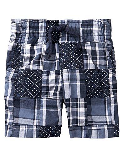 (Gymboree Boys' Toddler Patchwork Woven Shorts, Gym Navy Plaid, 2T)