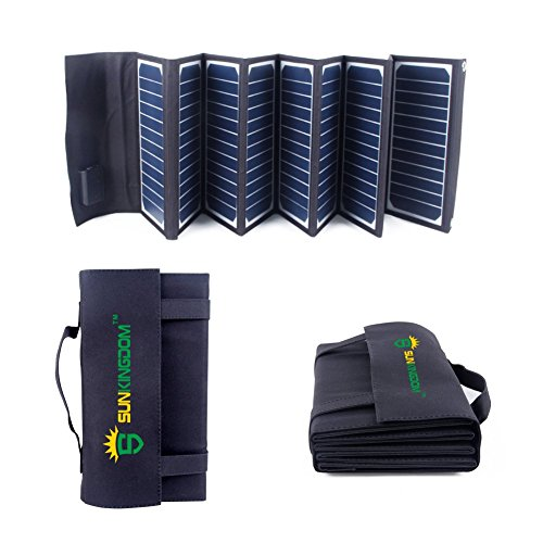 SUNKINGDOM 60W 18V Solar Ladegerät 2-Port Beweglicher Solar Panel Ladegerät für Laptop, iPhone, iPad, Samsung und Andere Digitale Geräte