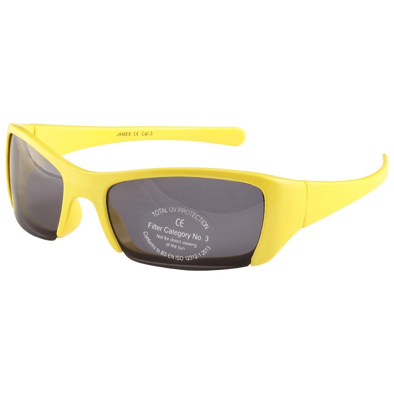 Kinder hüllen sich um die Sonnenbrille im Gelb & Schwarzen - Sportstil halbrandloses Design ein