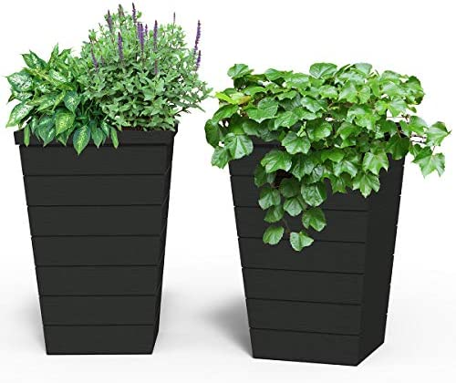 Keter 13.9 Gallon Resin Tapered Wood Panel Outdoor Planter, Set of 2, 15 in. W x 15 in. D x 22.5 in. H, Anthracite