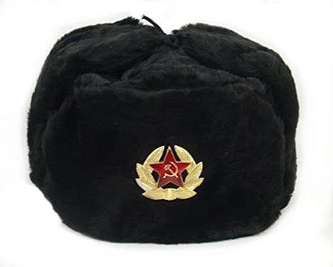 RUSSIAN AUTHENTIC BLACK USHANKA MILITARY HAT WITH SOVIET ARMY EMBLEM