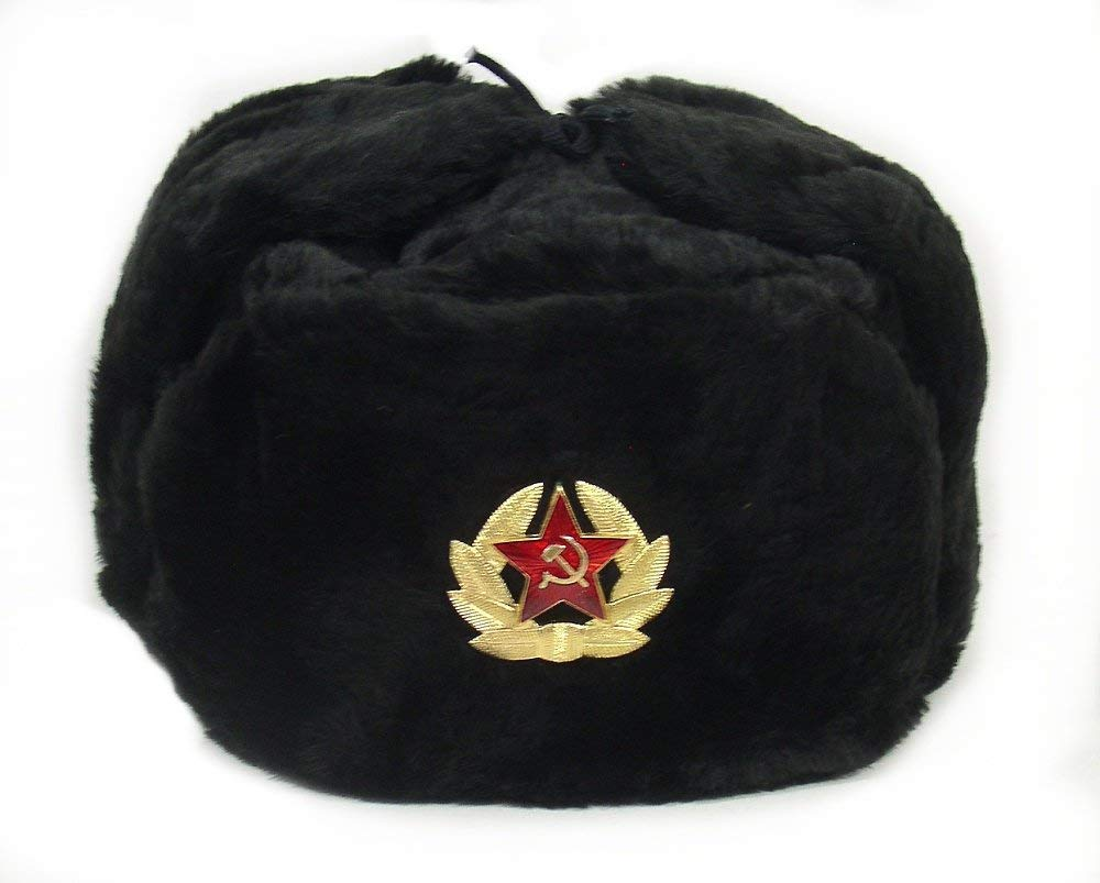 Russian Soviet Army Black KGB Fur Military Cossack Ushanka Winter Hat Size M