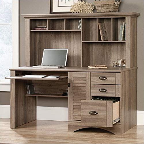 Scranton Co Computer Desk with Hutch in Salt Oak