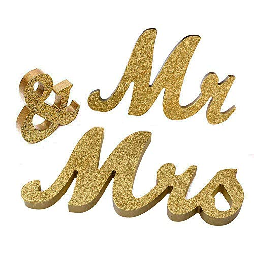 Marsheepy Mr and Mrs Signs Wedding Sweetheart Table Decorations, Wooden Freestanding Letters Wedding Shower Gift (Gold)]()
