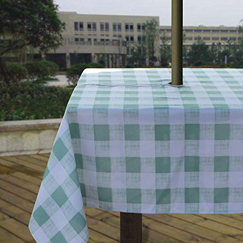 (Melaluxe Heavyweight Wrinkle-Free Stain Resistant Waterproof Outdoor Tablecloth with Umbrella Hole and Zipper, Green Checkered, 60 Inch Square)