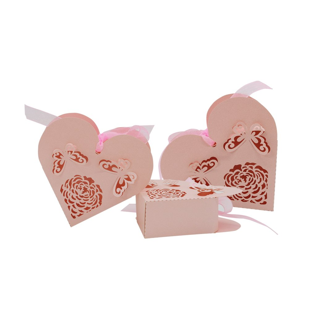 Amazon.com: Dovewill 50pcs Paper Love Heart Hollow Candy Boxes ...