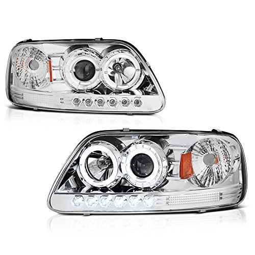 ([For 1997-2003 Ford F-150 Pickup Truck] LED Halo Ring Chrome Housing Projector Headlight Headlamp Assembly, Driver & Passenger Side)