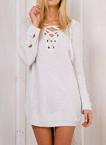 Futurino Women's Lace Up V-Neck Long Sleeve Knit Pullover Sweater Dress Top Photo #6