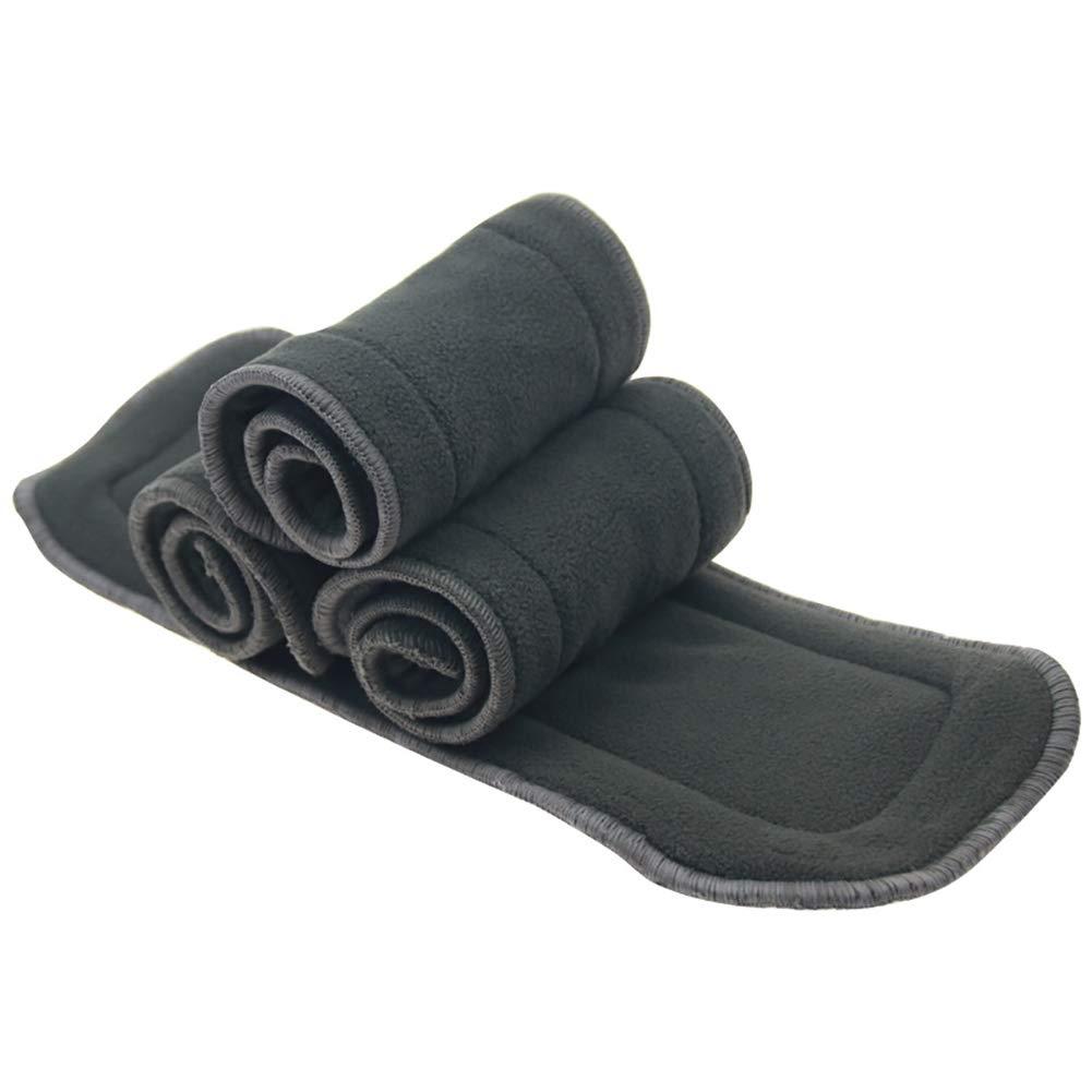 Reutilizables suaves 5 capas del paquete de 3 carb/ón de bamb/ú insertos para beb/é pa/ñal de tela lavable de alta absorci/ón de revestimientos