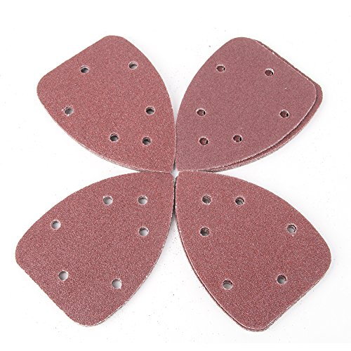 Tonsiki 40 Pieces 60 Grit Mouse Sanding Sheets Triangle Pads Sandpaper with 6 Holes For Grinding Abrasive Tools