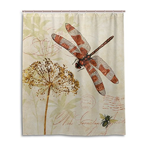 Bath Shower Curtain 60x72 Inch,Vintage Leave Dragonfly,Waterproof Polyester Fabric Bathroom Curtain