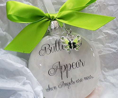 - Sympathy Gift Butterflies Appear when Angels are Near Memorial Ornament w/ Lime Green Charm
