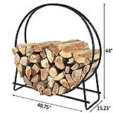 HollyHOME 40 Inch Large Round Steel Firewood Racks Heavy Duty Holder Log Rack Hoop