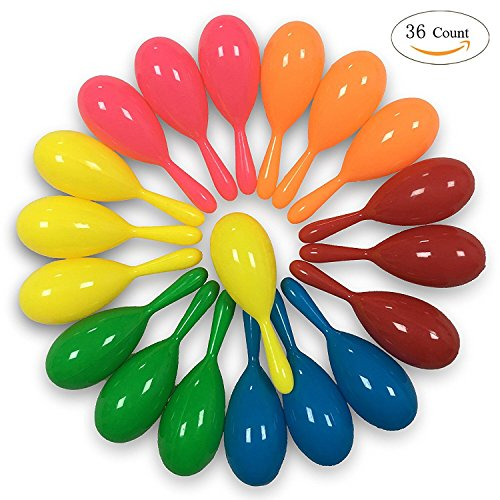 alia-Asia Trad 36 Pieces Neon Maracas Shakers Mini Noisemaker Bulk Colorful Noise Maker with for Mexican Fiesta Party Favors Classroom Musical Instrument, 4 Inch, 6 Color (Instrument Centerpieces)