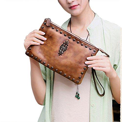 Brown Leather Wristlet - Womens Crossbody Purse Wristlet Clutch Handbags Genuine Leather Shoulder Bag (S, Brown)