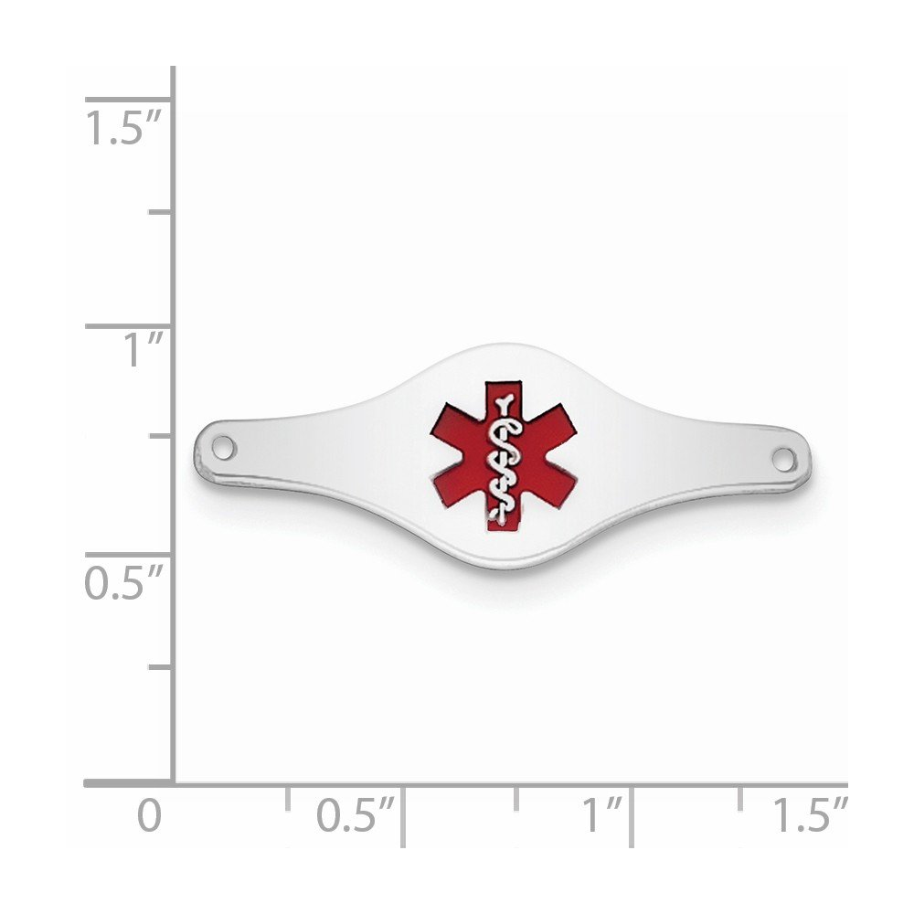 925 Sterling Silver Rhodium-plated Medical ID Plate