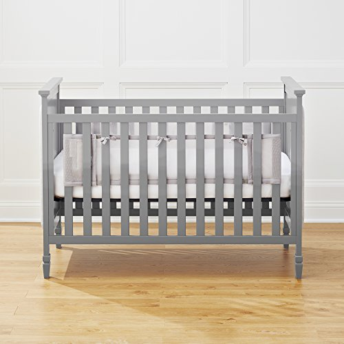 BreathableBaby | Breathable Mesh Crib Liner for Solid-End Cribs | Doctor Endorsed | Helps Prevent Arms and Legs from Getting Stuck Between Crib Slats | Fits Solid-End Cribs |Gray