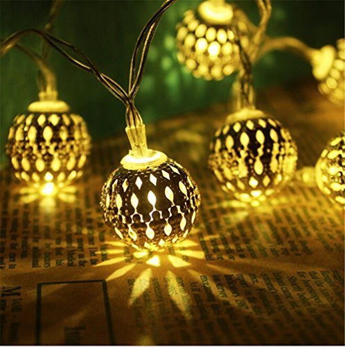 Fairy Decorative String Lights 20 LED Plug-in Hollow Metal Ball Light for Christmas Holiday, Party, Home and Garden, Indoor and Outdoor Decorations -