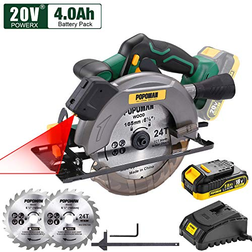 POPOMAN Cordless Circular Saw, 4300 RPM, 20V 4.0Ah Battery, Fast Charger, 2 x Blade(6-1/2″), Adjustable Cutting Depth 2-1/20″(90°), 1-2/5″(45°), Laser & Base Plate Adjustable – MTW300B