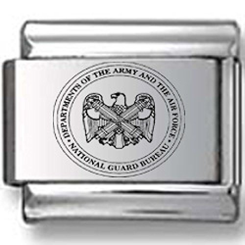 Army, Air Force, National Guard Seal Laser Italian Charm