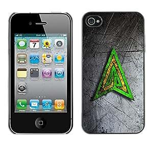 Be Good Phone Accessory // Dura Cáscara cubierta Protectora Caso Carcasa Funda de Protección para Apple Iphone 4 / 4S // Green Yellow Triangle