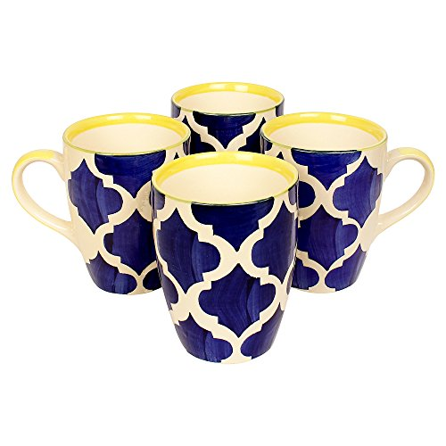 Kittens Large Coffee Mugs Handpainted in Blue & Yellow Floral Pattern – Set of 4 Price & Reviews