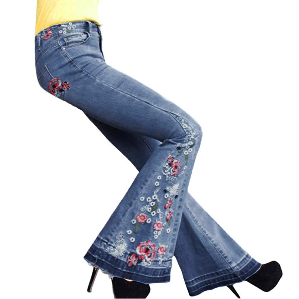 Waiimak Women's Ripped Flare Bell Bottom Jeans Pants Elastic Waist Retro Wide Leg Denim Pants (Light Blue,S) by Waiimak