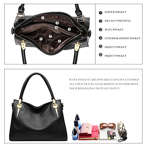 Purse Leather Bag Tote Shoulder Clearance Hobo Designer Women's Ladies Sale Handle 3 Bag Top Handbag Black 1x0OnE8IO