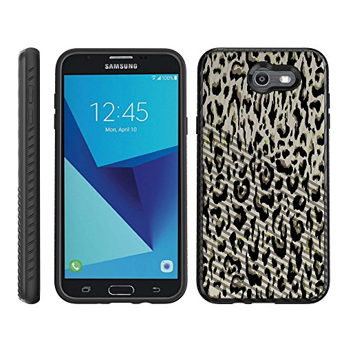 Engraved Leopard - TurtleArmor | Compatible for Samsung Galaxy J7 2017 Case | J7 Prime | J7 Sky Pro | Engraved Grooves Slim Armor Dual Layer Hybrid Case Girl Designs - Fainted Leopard Print