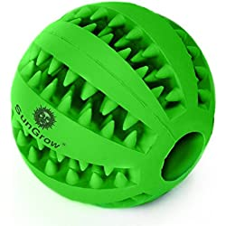 SunGrow Dental Chew Treat Ball for Dogs & Cats Interactive Pet Training, Durable, BPA-Free, Non-Toxic Natural Rubber Tooth Cleaning Toy