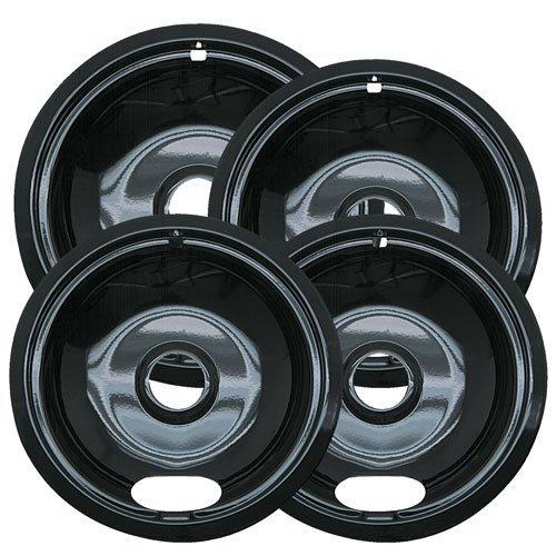 Non Stick Drip Pans (Range Kleen P10124XZ, Black Style A Porcelain Set of 4 Containing 3 Units of 3-6 Units P101, 1 Unit P102)